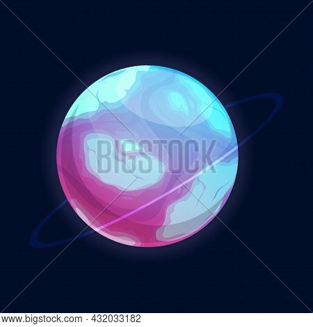 Exoplanet Or Planet Dessert Isolated Sweet Cartoon Sci-fi Fantasy World. Vector Aliens Confectionery