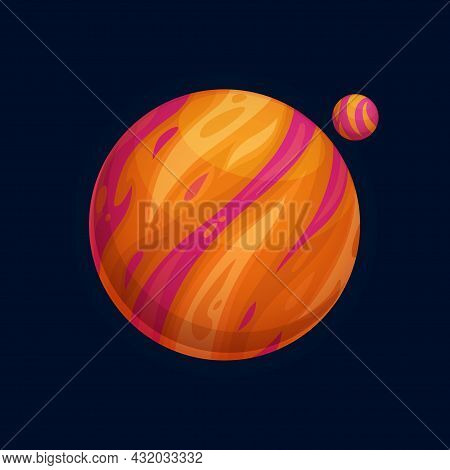 Big Planet And Exoplanet Fantasy Magic Worlds In Universe Isolated Cartoon Habitable Globes, Cosmic