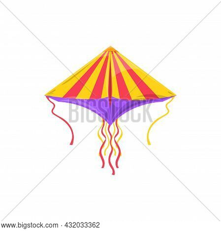 Dragon Striped Kite With Long Wavy Strings Isolated Summer Kids Toy. Vector Flying Kite-balloon Utta