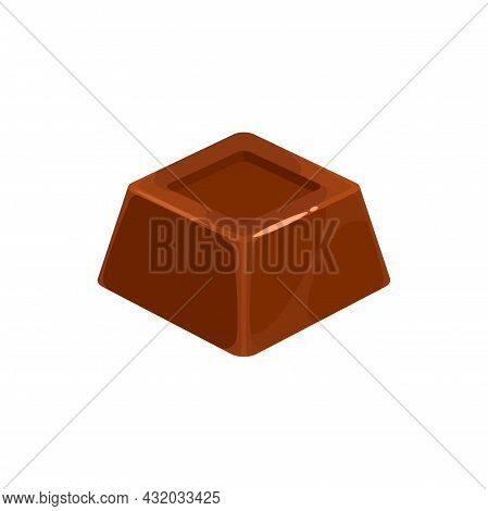 Chocolate Candy Cake, Sweet Dessert Truffle Or Praline, Vector Confection Food Icon. Square Chocolat