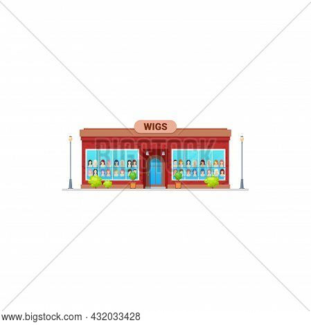 Shop Or Store Of Wigs, Woman Hair Salon Building, Vector Isolated Icon. Beauty And Fashion Wigs Hair