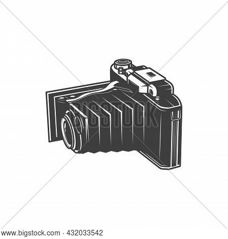 Retro Folding Camera Isolated Photo Studio Symbol Monochrome Icon. Vector Unfolded Vintage Camera, P