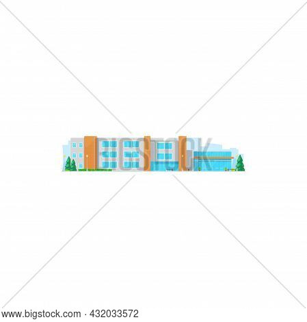 School Building Icon, College Or University, Education Vector Flat House. High Or Elementary School
