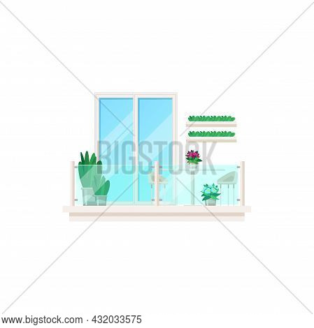 Balcony, Architecture Exterior Of House Building, Vector Glass Door And Window Facade Front. Glass B