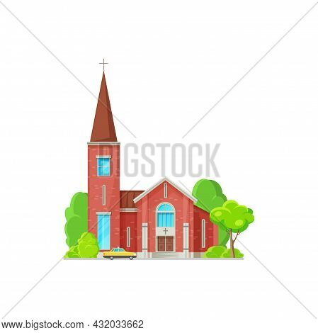 Catholic Church Building Vector Icon. Cathedral With Cross On Steeple, Gothic Chapel Or Monastery Fa