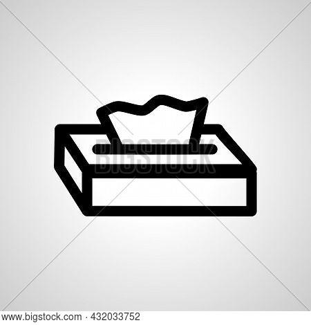 Tissue Paper In Box Vector Line Icon. Tissue Paper In Box Linear Outline Icon