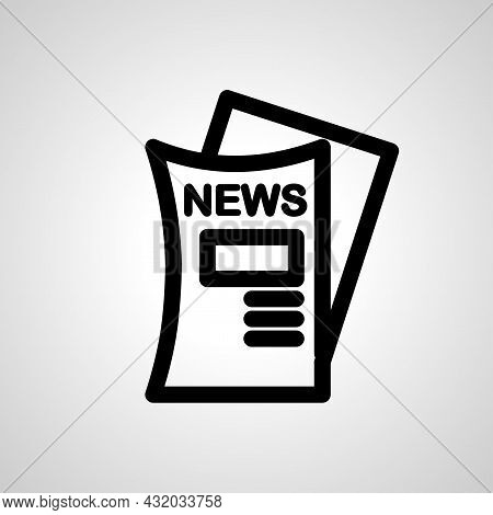 Newspaper Vector Line Icon. Newspaper Linear Outline Icon