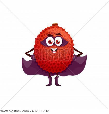 Lychee Fruit Superhero Cartoon Character, Vector Tropical Fruit In Super Hero Costume And Mask. Lych
