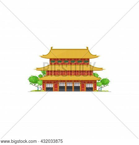 Ancient Asian Temple, Pagoda Landmark Of China Isolated Cartoon Icon. Vector Oriental Palace, Easter