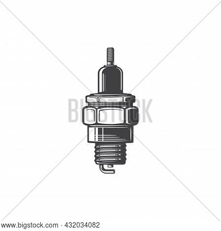 Sparking Plug With Metal Threaded Shell, Electrically Isolated By Porcelain Insulator Monochrome Ico