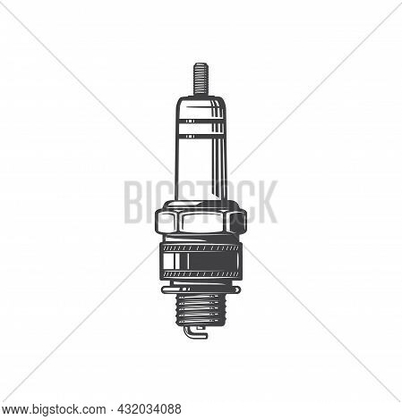 Sparkplug Hand Drawn Vehicle Spare Part Isolated Monochrome Icon. Vector Sparking Plug In Thick Cyli