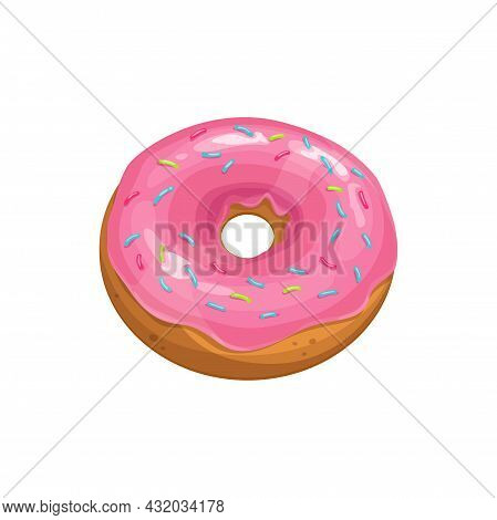 Donut Cake Icon, Fast Food Sweet Dessert, Vector Isolated Pink Glazed Doughnut. Cafe Pastry And Pati