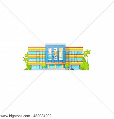 Cinema Theater Or Movie Hall, House Building Icon, Vector Entrance Front With Billboards. City Cinem