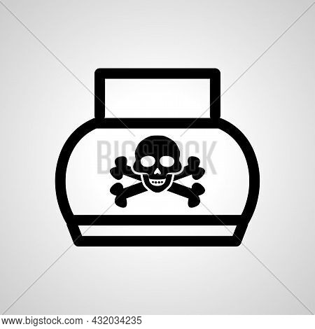 Poison Bottle Vector Line Icon. Poison Linear Outline Icon