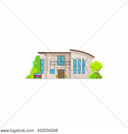 Modern Exterior Building With Parked Car In Garden. Vector Country Cottage, Villa With Balcony, Entr