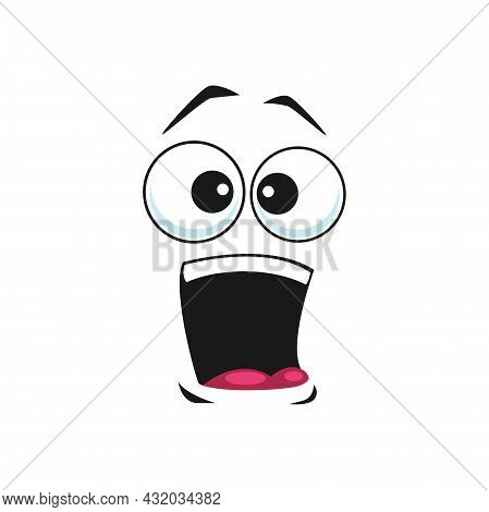 Cartoon Face Vector Icon, Surprised Or Shocked Yelling Facial Expression. Astonished Funny Emoji Wit
