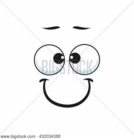 Cartoon Smiling Face Vector Funny Emoji With Friendly Scenery Smile And Round Eyes. Happy Facial Exp