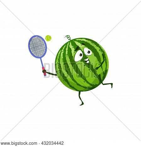 Cartoon Watermelon Fruit Playing Tennis Vector Icon, Funny Sportsman Character Doing Sport Exercises