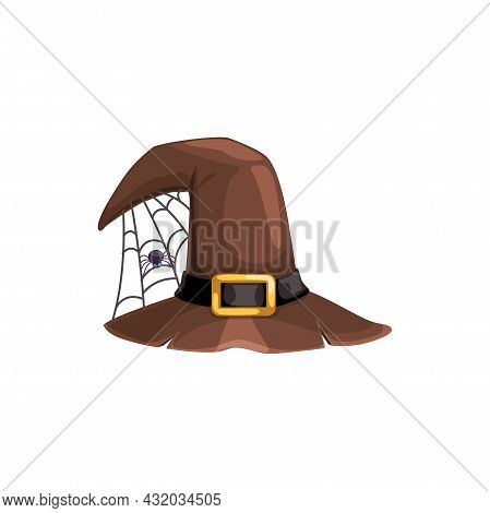Cartoon Witch Hat Vector Icon, Brown Magician Headwear With Ragged Brims, Gold Buckle And Spider Sit