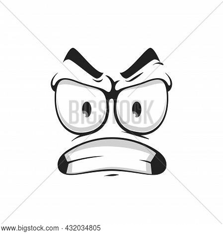 Grumpy Sullen Emoji, Ireful Or Rageful Smiley Facial Emotion Isolated Icon. Vector Irritated Angry S