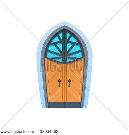 Medieval Door With Glass Window And Two Handles Isolated Wooden Gate. Vector Stronghold Entrance To