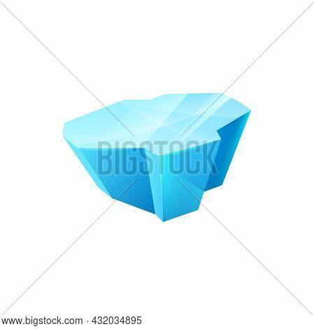Ice Crystal, Frozen Floe Vector Block. Gui Or Ui Game Icicle Winter Design Element, Snowdrift Cap. T
