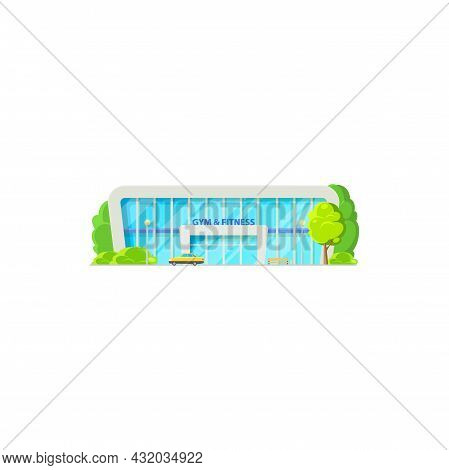 Gym And Fitness Center Building Isolated Sport Club Cartoon Icon. Vector Beauty Center Front View, P