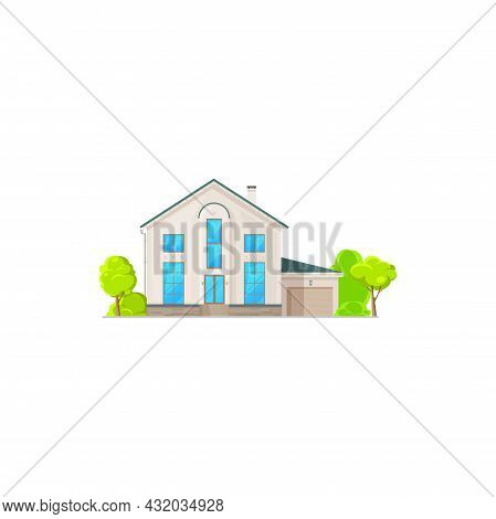 American House With Garage, Rural Two-storey Building Facade Exterior Isolated Neighborhood Architec