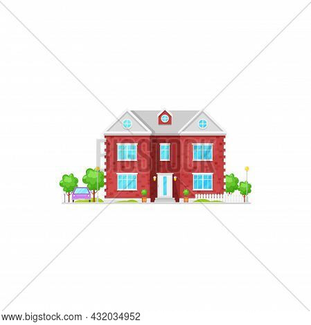 Vector House Exterior With C Windows And Garden Trees Isolated Cartoon American Luxury Patio. Vector