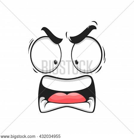 Cartoon Angry Face Vector Yelling Emoji With Mad Eyes And Yell Mouth. Furious Facial Expression, Agg