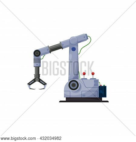 Automated Claw, Robotic Arm, Manufacture Robot Isolated Factory Automation. Vector Automation Render