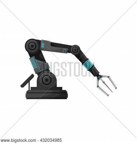 Factory Manufacturing Plant Automated Robotic Hand Isolated Realistic Icon. Vector Robotic Arm, Manu