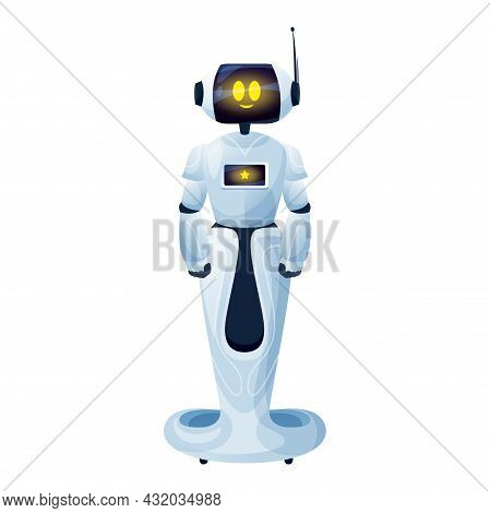 Artificial Intelligence Robotic Machine Robot Man On Stand Isolated. Vector Android Toy On Remote Co