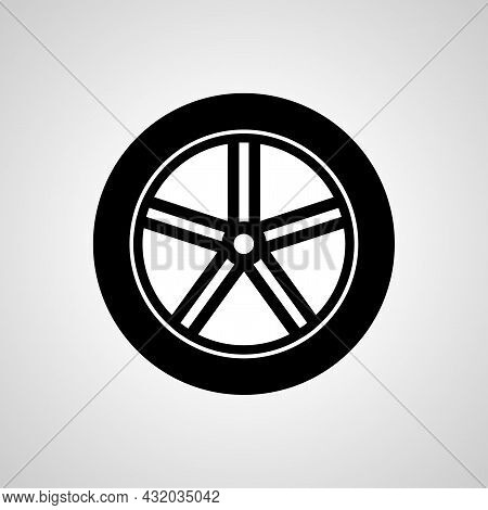 Car Wheel And Tire Vector Line Icon. Tire Linear Outline Icon