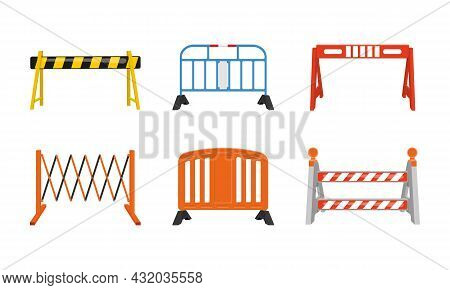 Different Road Barriers Set. Metal And Plastic Traffic Barricades Isolated On White Background. Work