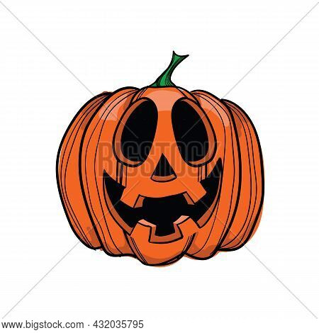 Vector Illustration Jack-o-lantern With Four Teeth, Can Be Used As Halloween Decoration
