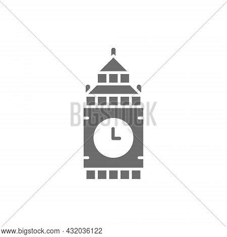 Big Ben, United Kingdom, Landmark Grey Icon.