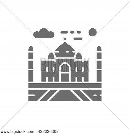 Vector Taj Mahal, India, Landmark Grey Icon.