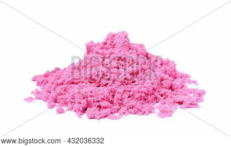 Pile Of Pink Kinetic Sand On White Background