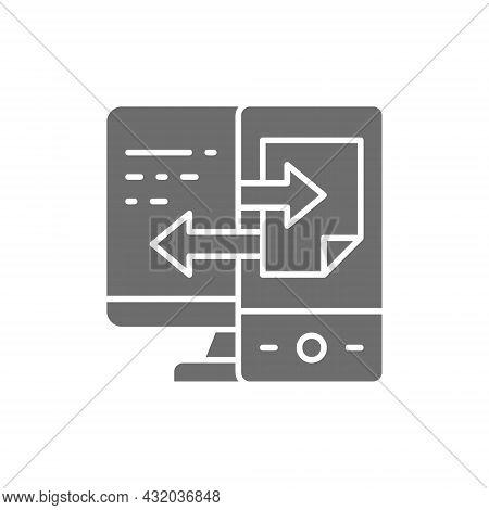 Device Data Transfer, File Synchronization Grey Icon.