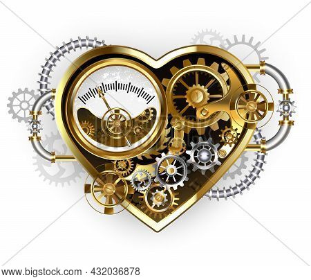 Mechanical, Volumetric, Steampunk Heart With Pressure Gauge, Steel And Gold Gears On White Backgroun