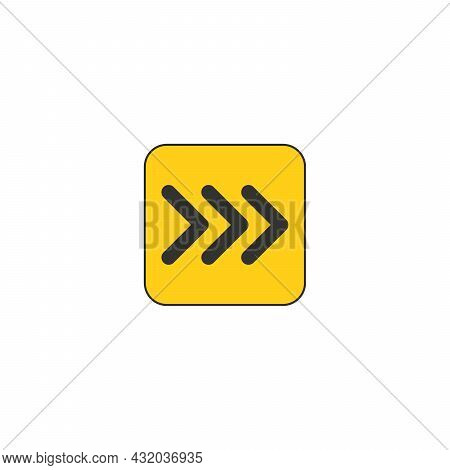 Black On Yellow Vector Chevron Arrows Pointing Right, Three Arrows In Row. Road Sign For Turn. Stock