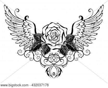 Artistically Drawn, Blooming, Outline Rose, Decorated With Black Leaves With Contour Angel Wings On