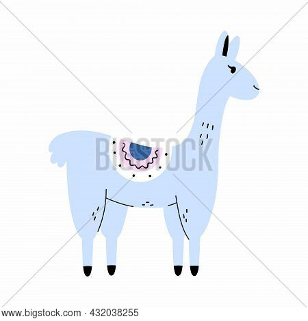 Cute Llama In Doodle Style. Blue Alpaca For Printing On Children Clothes And Postcards. Poster For N