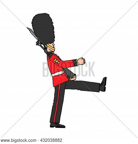 A Marching Royal Guardsman In A Fur Hat, A British Soldier, A Landmark Of The City, A Symbol Of Lond