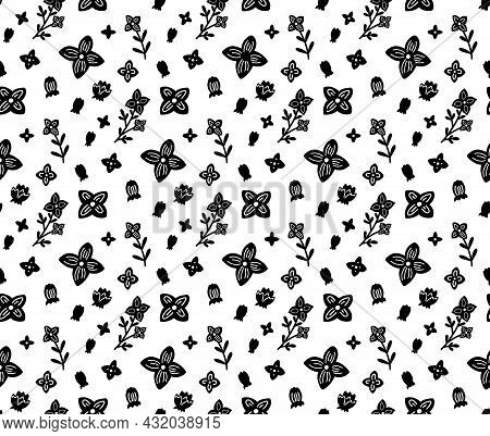 Seamless Monochrome Pattern With Small Black Flowers On A White Background. Silhouettes Of Stems Wit