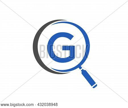 Magnifying Glass On Letter G Concept. Search Logo. Initial G Letter Magnifying Glass Logo Design