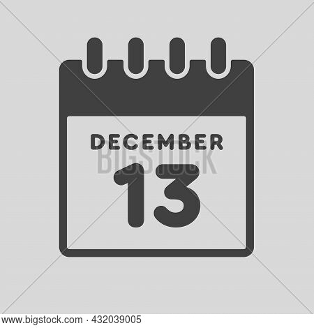Icon Day Date 13 December, Template Calendar Page