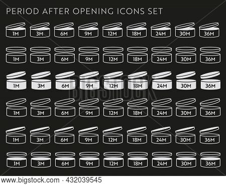 Pao Vector Icon On Black Set. Period After Opening Symbols. Can With Open Cap With Expiration Period