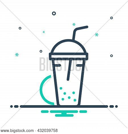 Mix Icon For Shake  Beverage Milk Blended Protein Cocktail Shake Glass Container Drink Editable Nutr